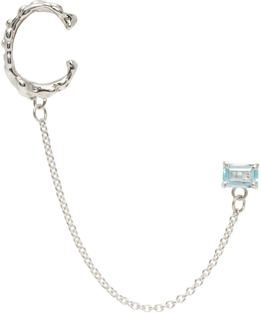SSENSE Exclsuive Silver & Blue Topaz Roca Gem Studcuff Single Earring