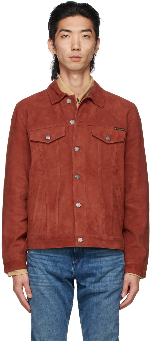 Nudie Jeans Robby Slim-fit Suede Jacket In Poppy Red