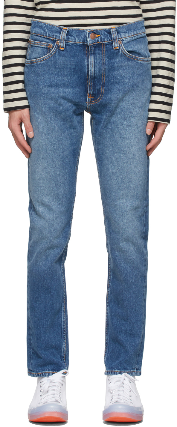 Nudie Jeans Indigo Lean Dean Jeans In Indigo Exile