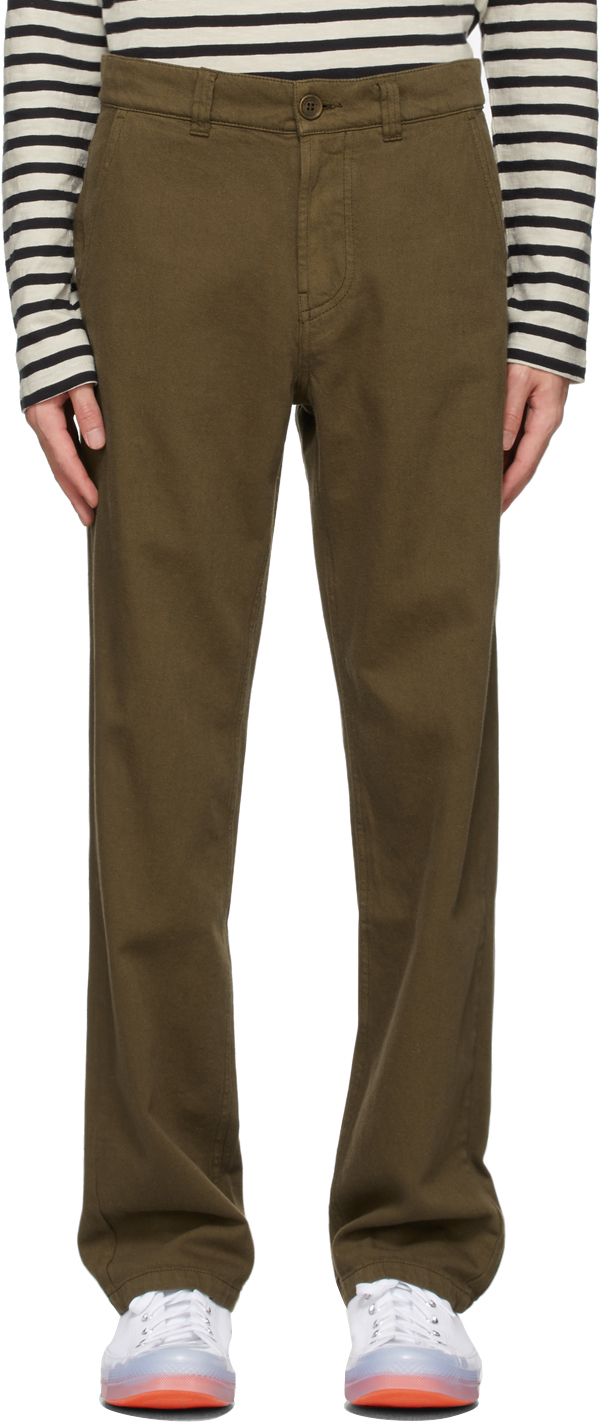Nudie Jeans Lazy Leo Organic Cotton-twill Trousers In Army