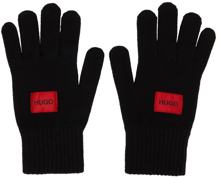 Black Wool Logo Gloves