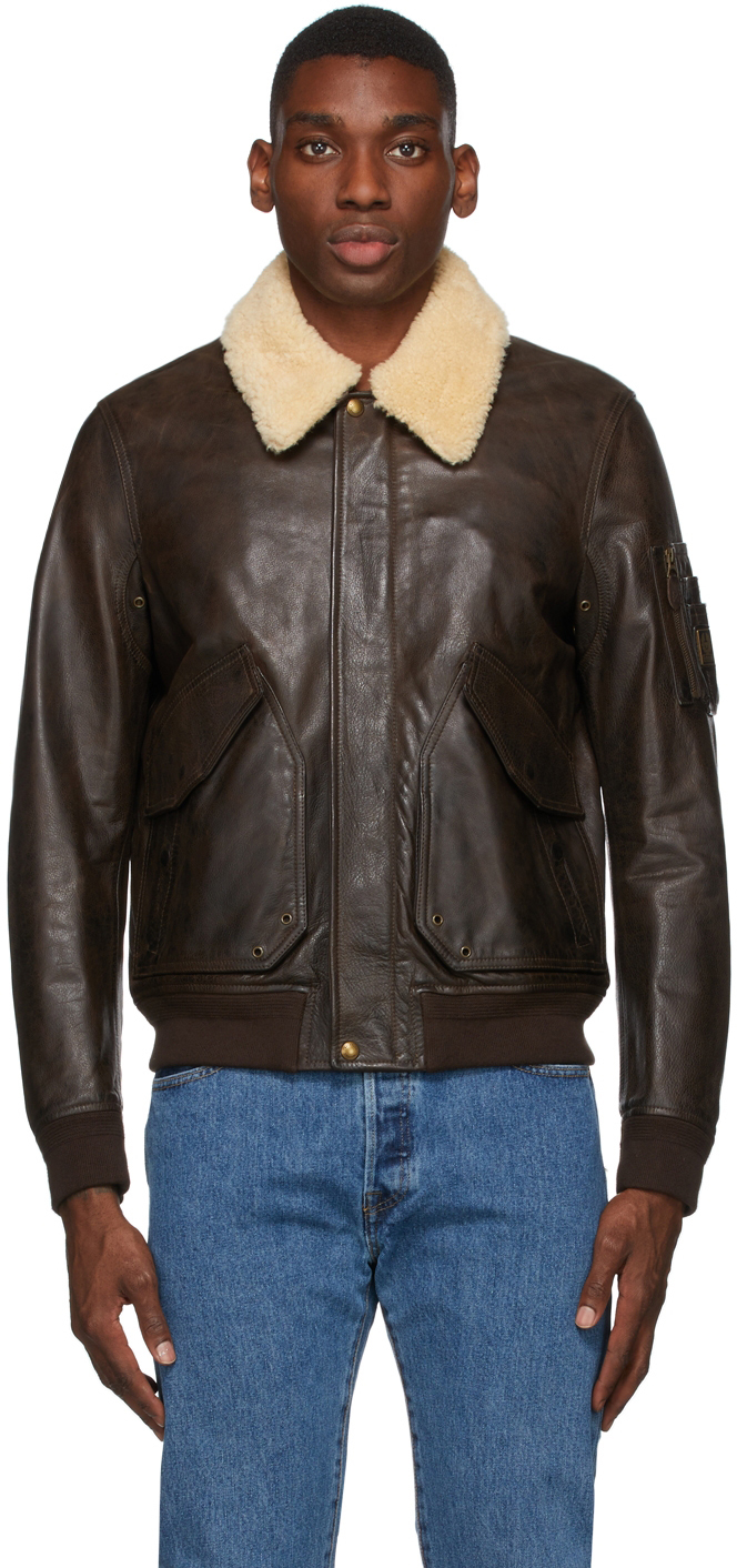Brown Leather Carrier Bomber Jacket