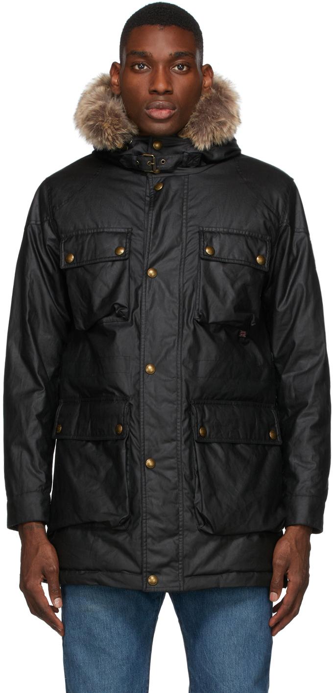 Black Waxed Pathmaster Parka Coat