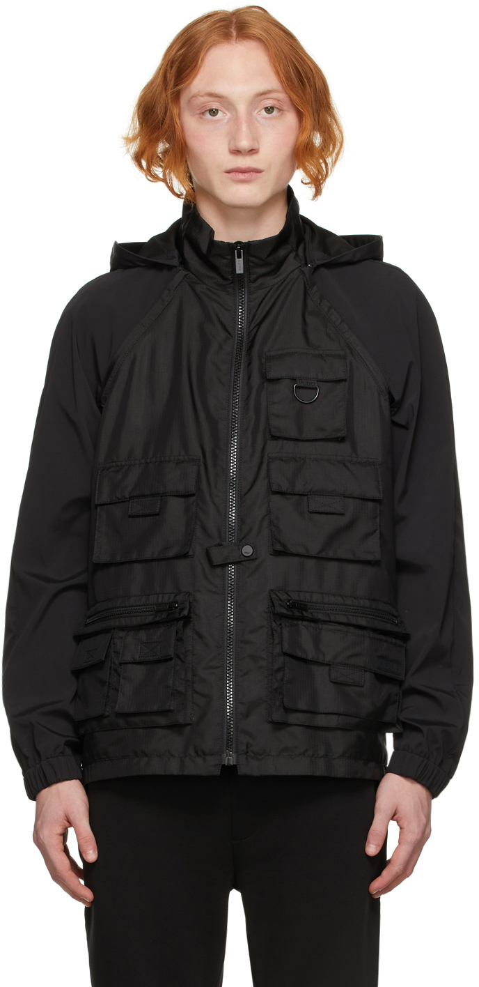 Black Hybrid Windbreaker Jacket