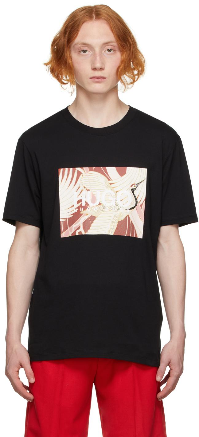Black Crane Print Dolive T-Shirt