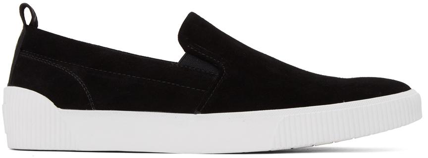 Black Suede Zero Tennis Slip-On Sneakers