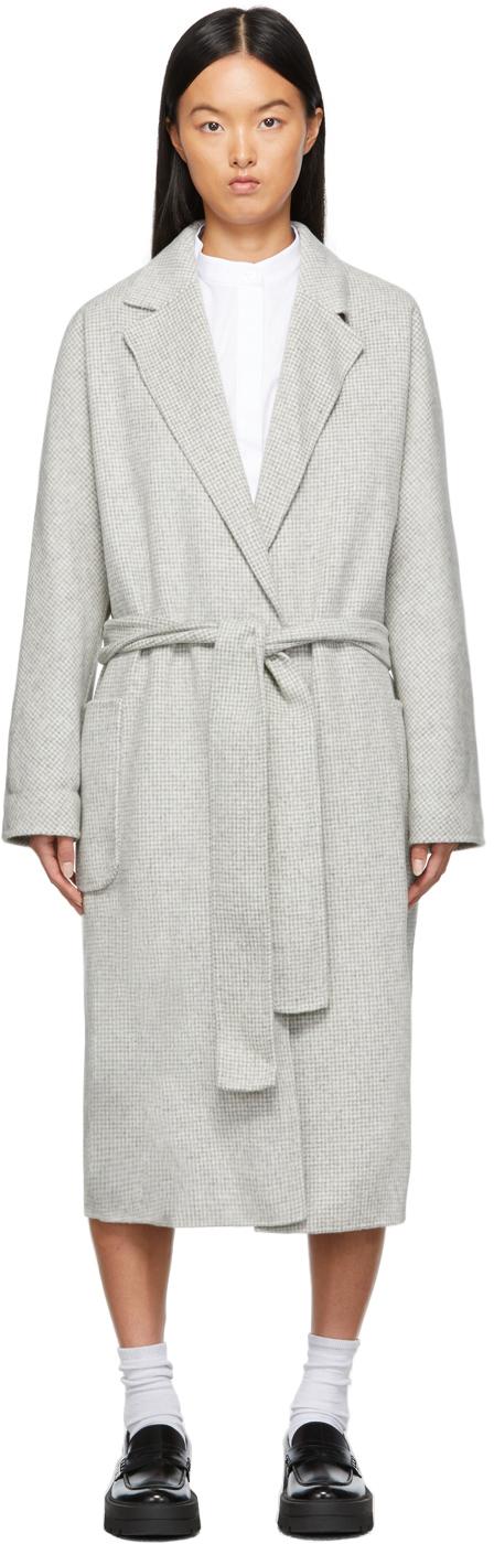 Off-White & Grey Wool Coppelo Wrap Coat