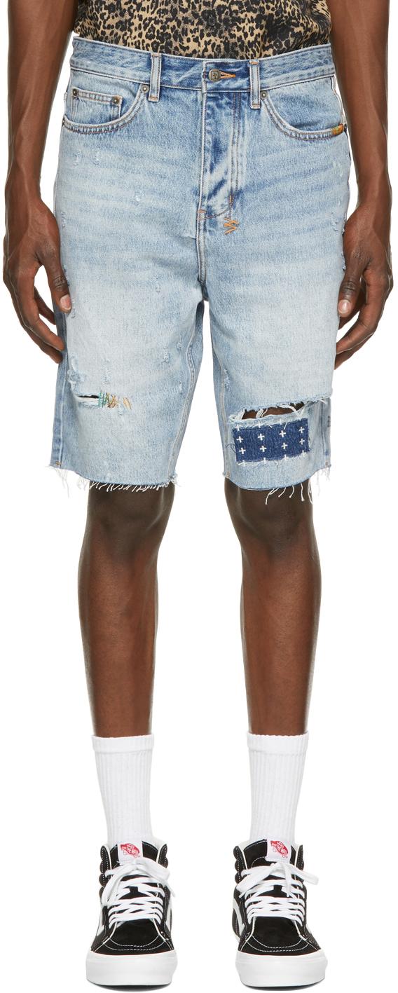 Blue Denim Wolf Kolor Stitch Shorts