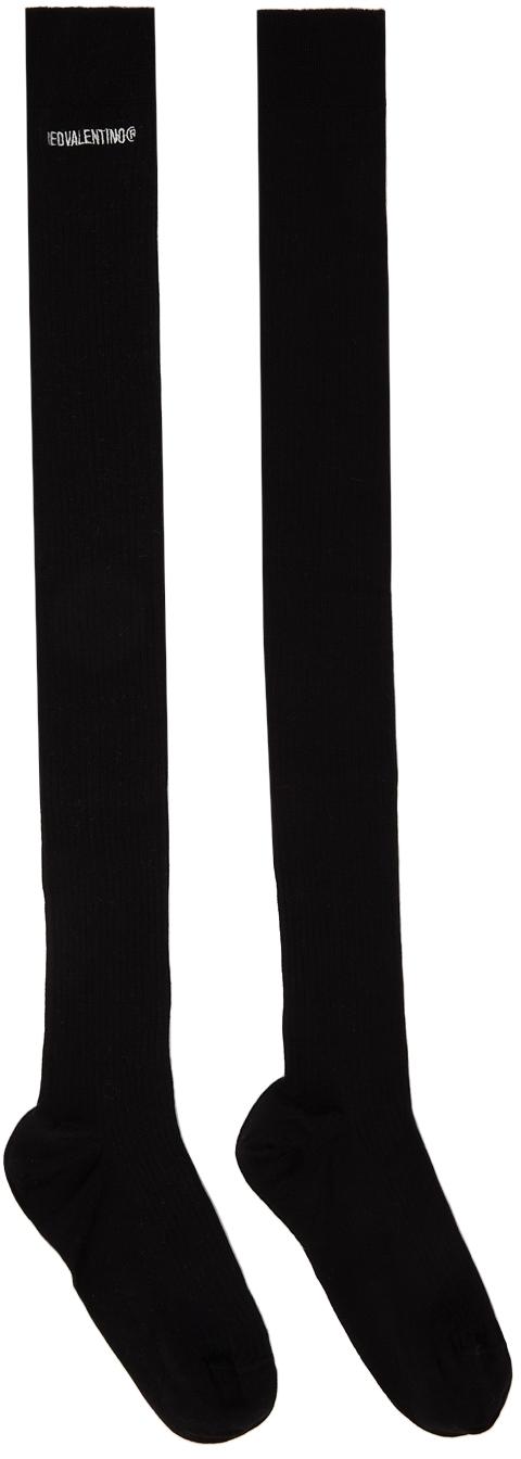 RED Valentino Black Rib Logo Thigh-High Socks