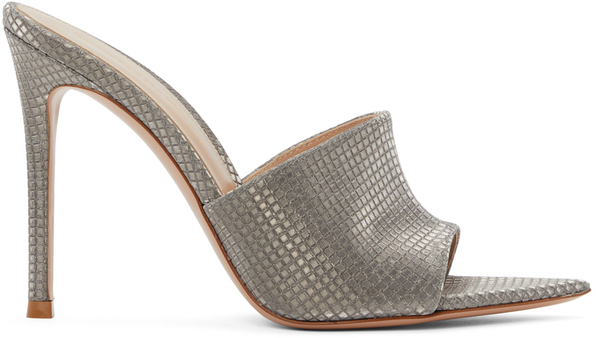 Silver Check Alise 105 Heeled Sandals
