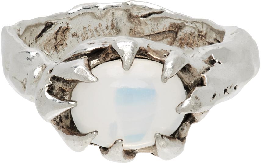 SSENSE Exclusive Silver & White Turmoil Ring