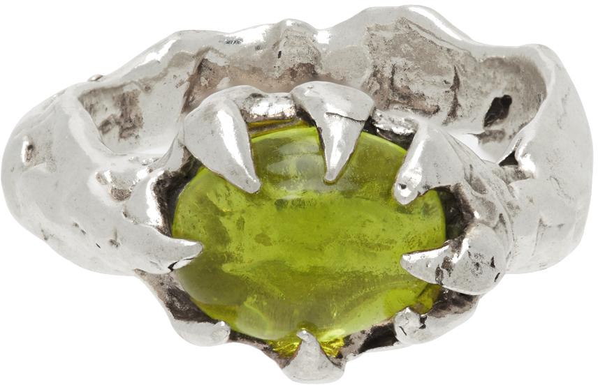 SSENSE Exclusive Silver & Green Turmoil Ring