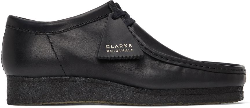 Black Leather Wallabee Derbys