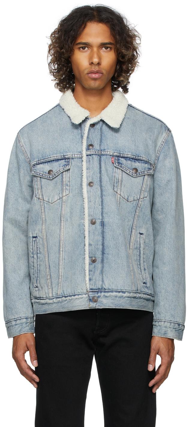 Levi's Blue Denim Sherpa Trucker Jacket