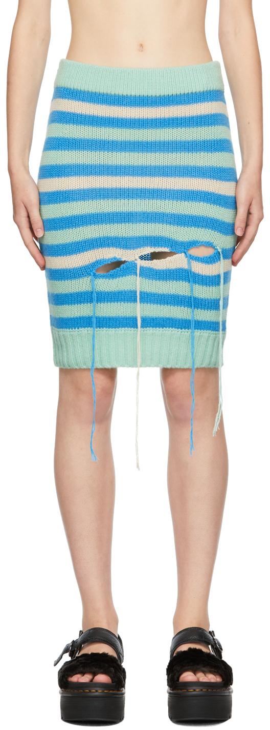 Green & Blue Stripe Slash Skirt