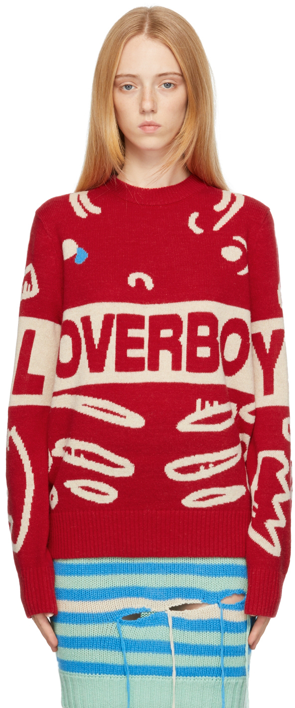 Red Logo Graphic Sweater
