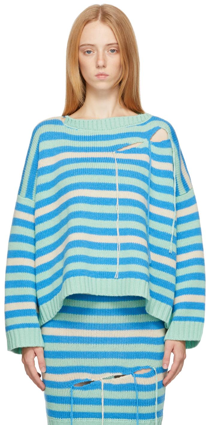 Green & Blue Stripe Slash Sweater