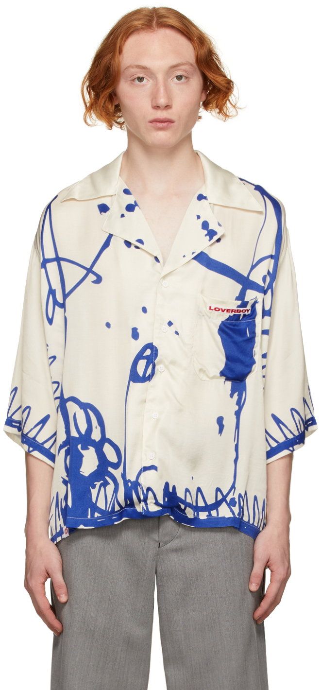 Beige & Blue Print Awol Shirt