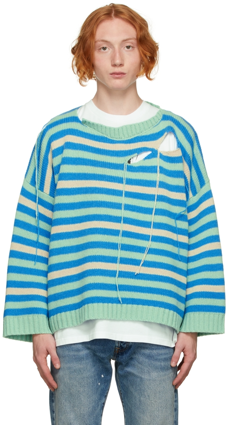 Green & Blue Slash Sweater