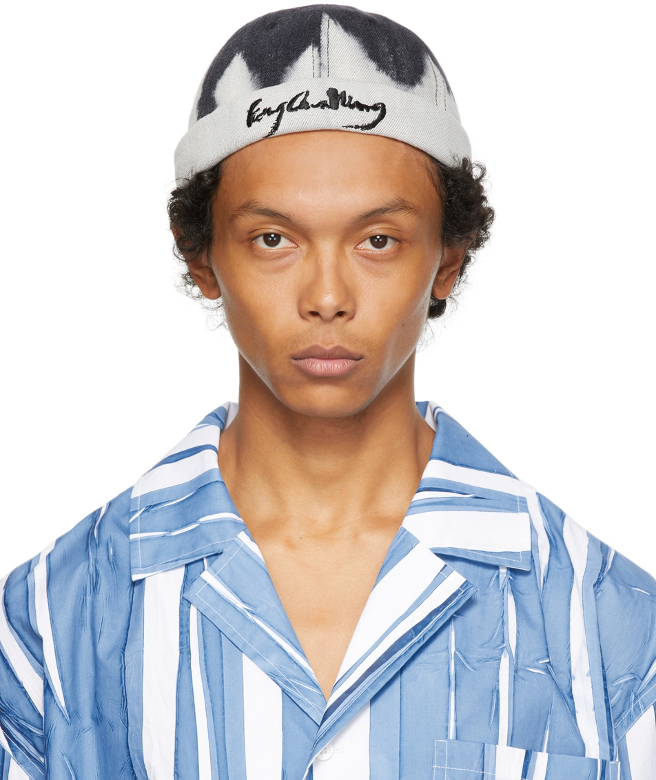 Off-White & Black Tie-Dye Pattern Cap