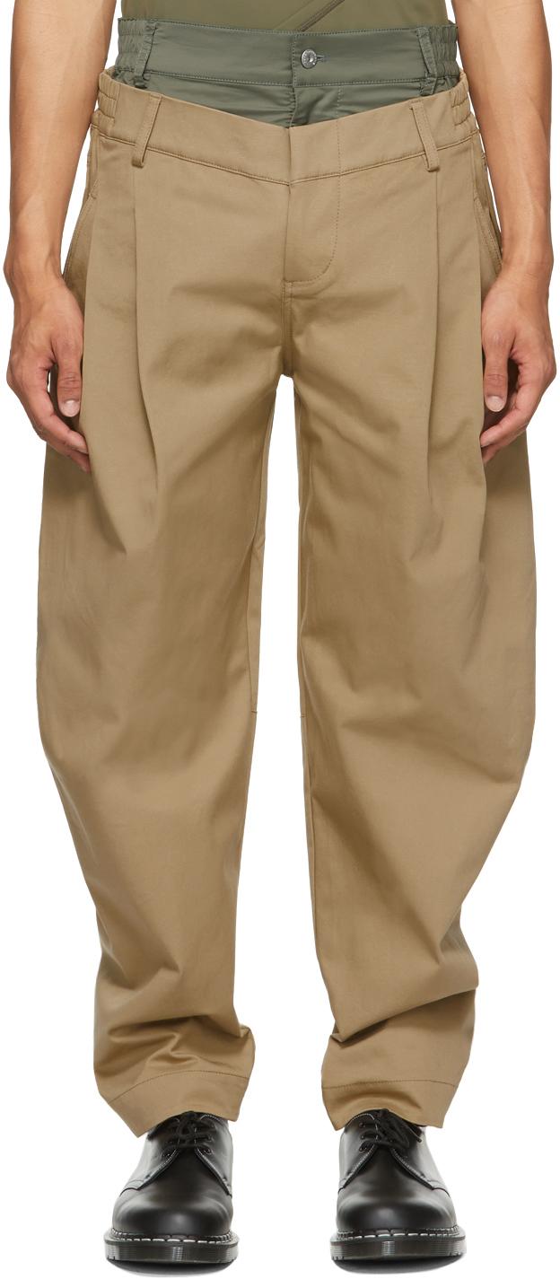 SSENSE Exclusive Khaki Double Waistband Trousers