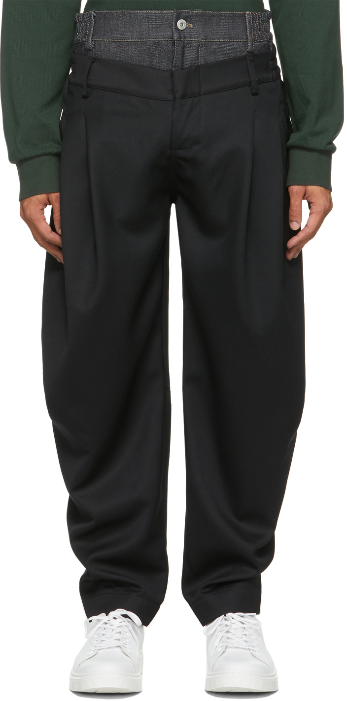 SSENSE Exclusive Black Double Waistband Trousers