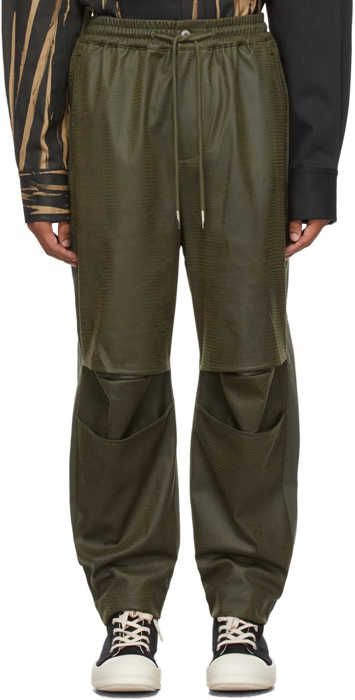 Khaki Faux-Leather & Twill Trousers
