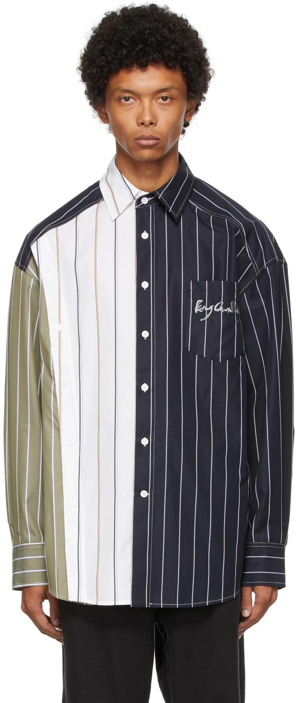Navy & White Deconstructed Panel Shirt