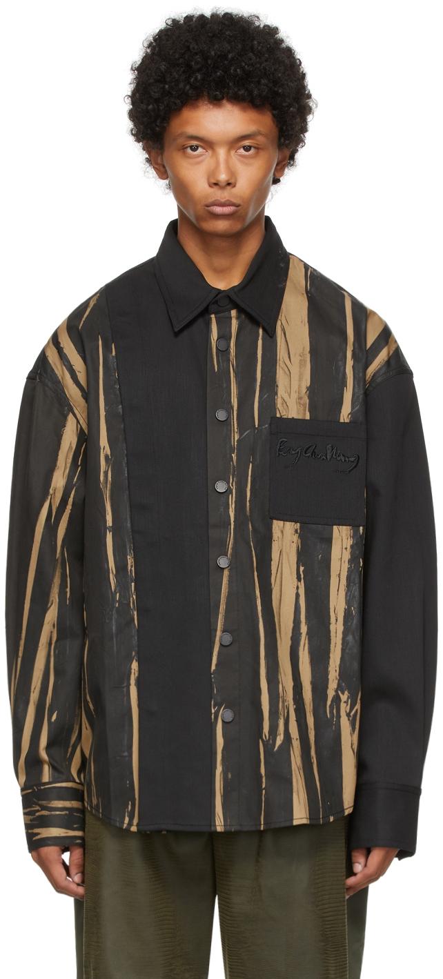 Brown Paneled Hand-Painted Shirt