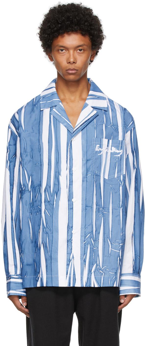 Blue & White Hand-Painted Shirt