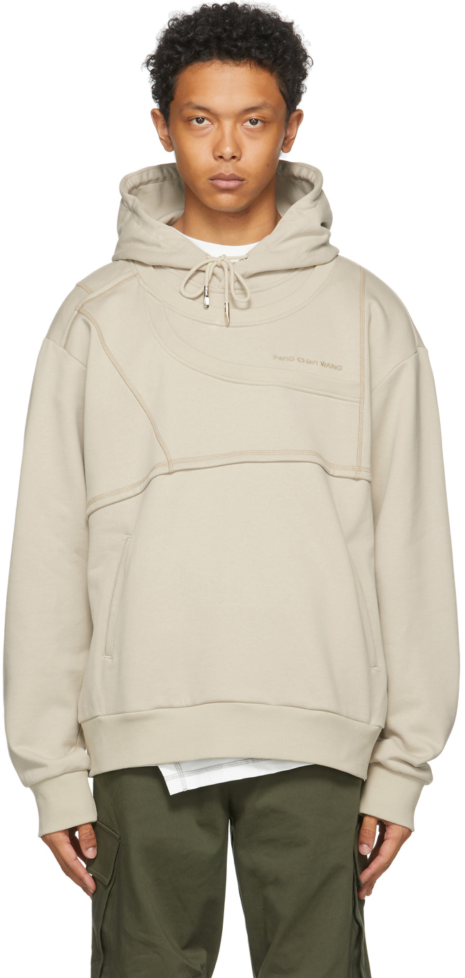 SSENSE Exclusive Beige French Terry Paneled Hoodie