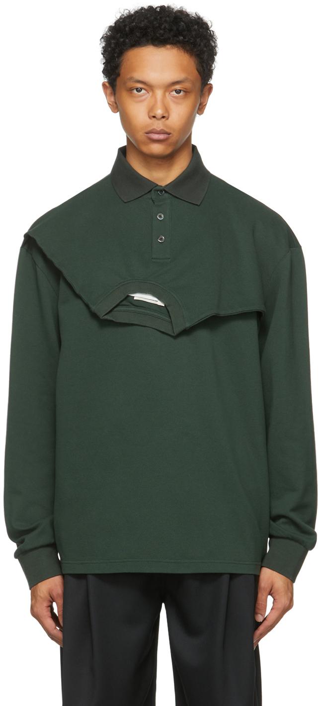 SSENSE Exclusive Green Double Collar Long Sleeve Polo