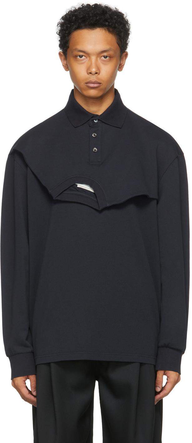 SSENSE Exclusive Navy Double Collar Long Sleeve Polo