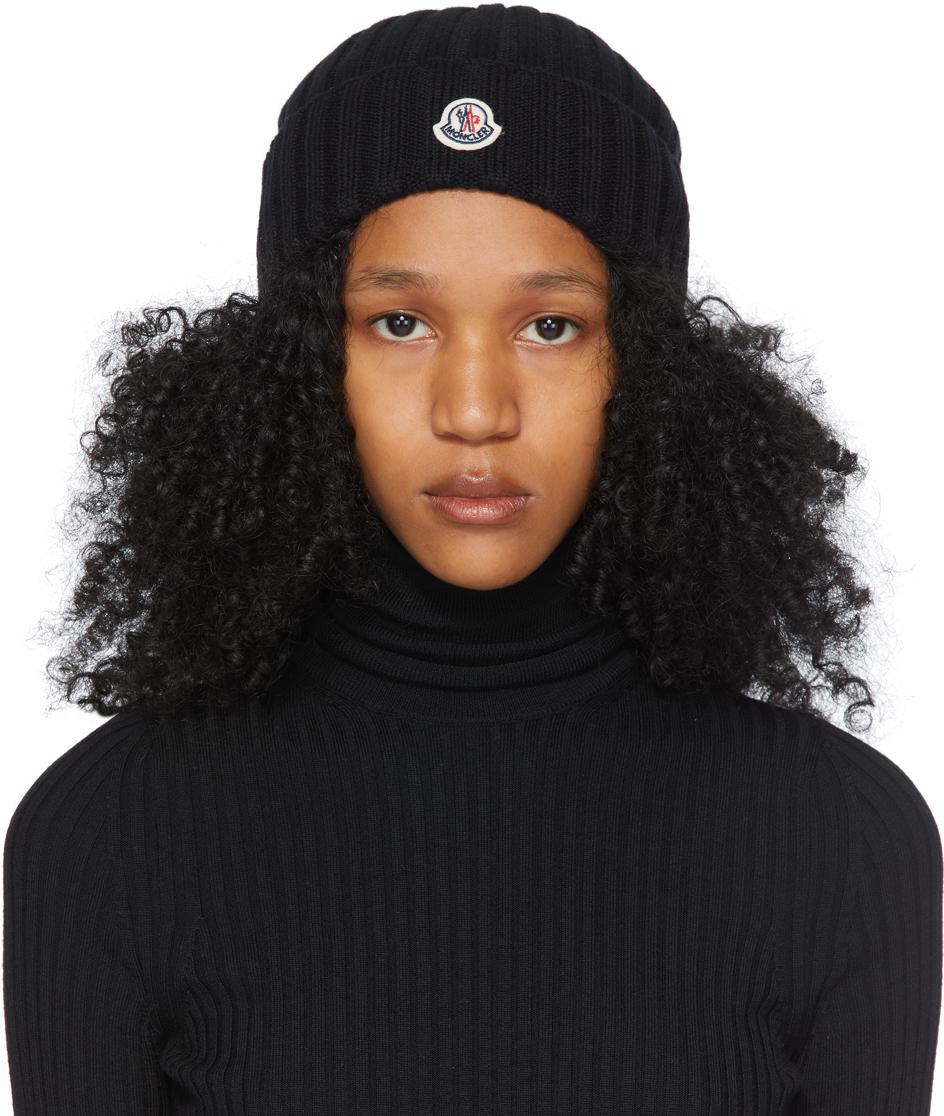 Moncler Black Wool Rib Knit Logo Beanie