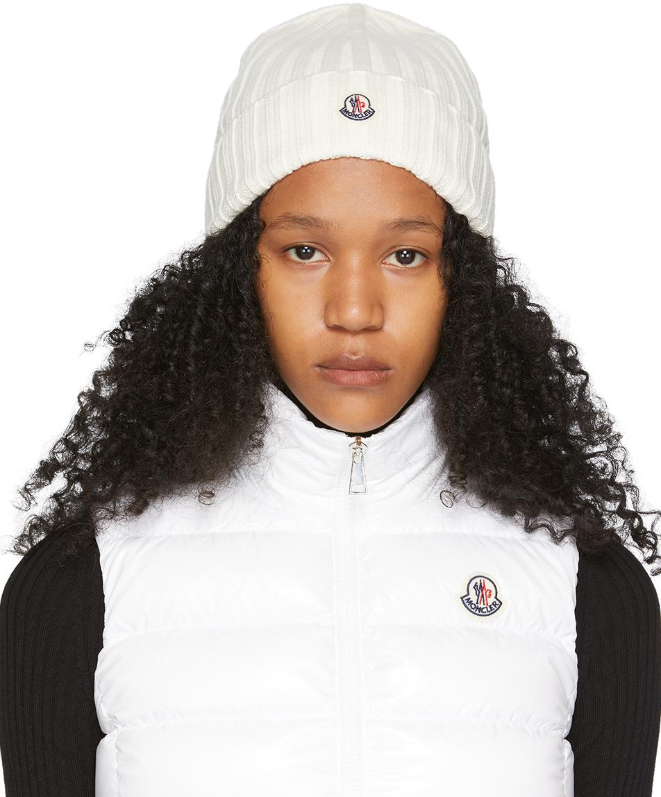 Moncler Off-White Wool Logo Beanie