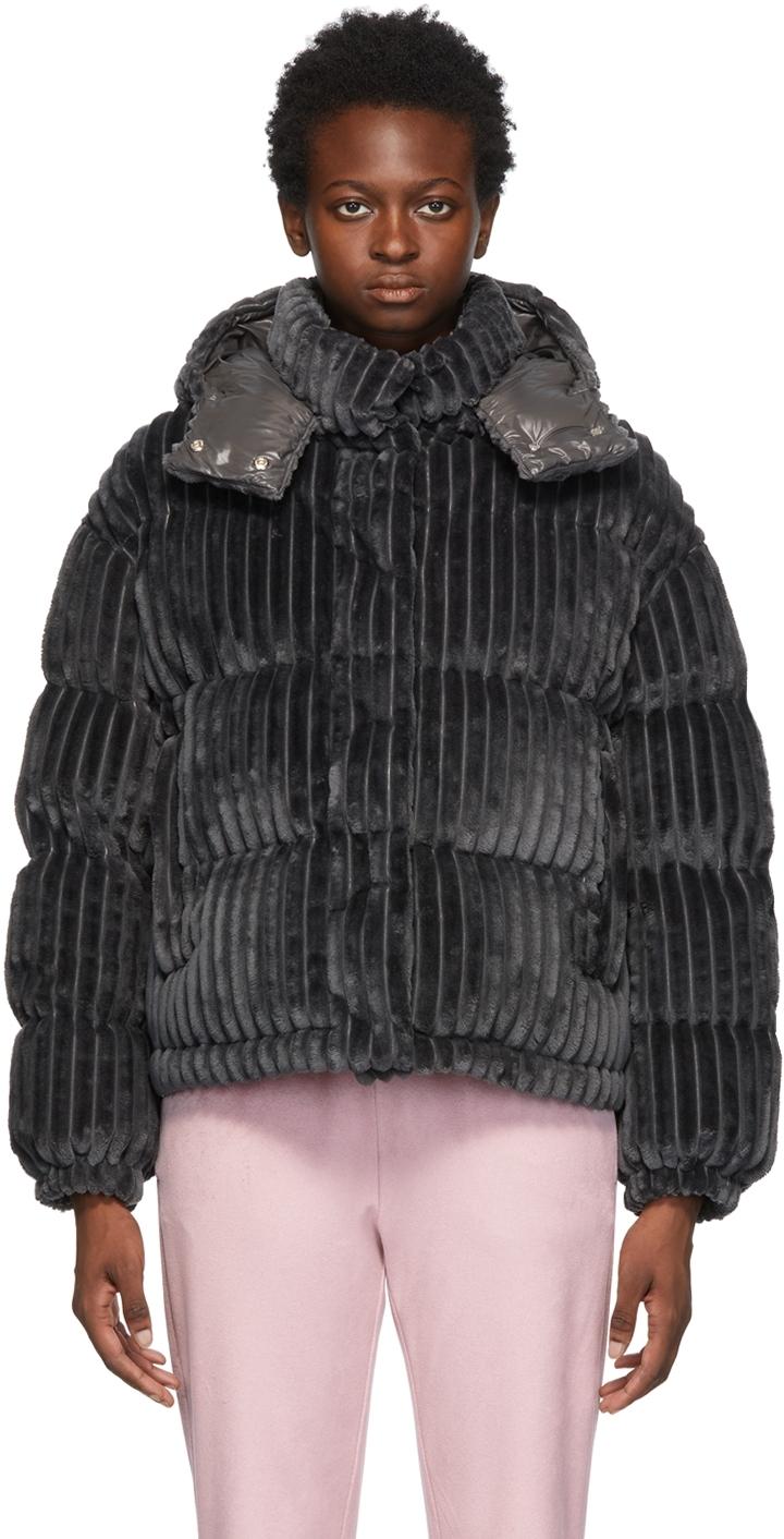 Moncler Grey Down Velvet Daos Jacket