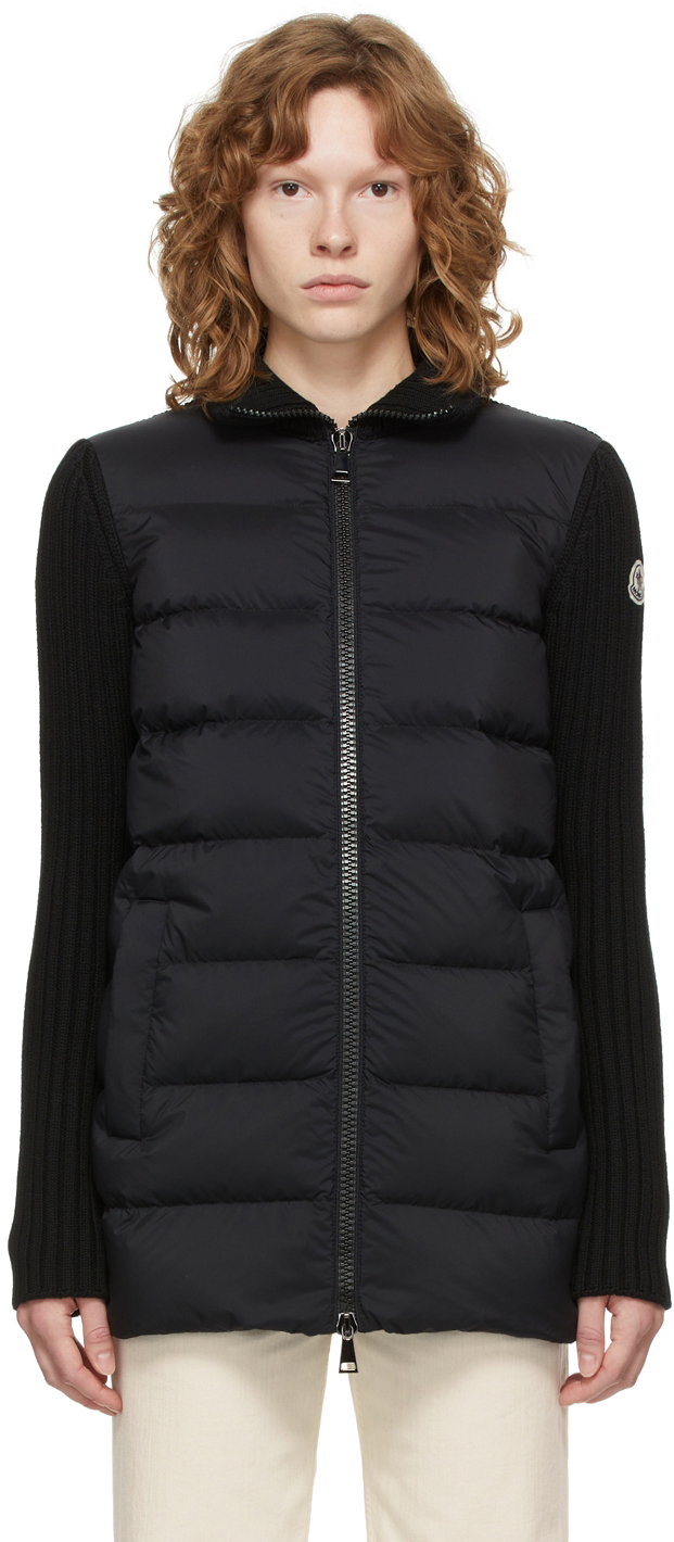 Black Down Quilted Cardigan Jacket