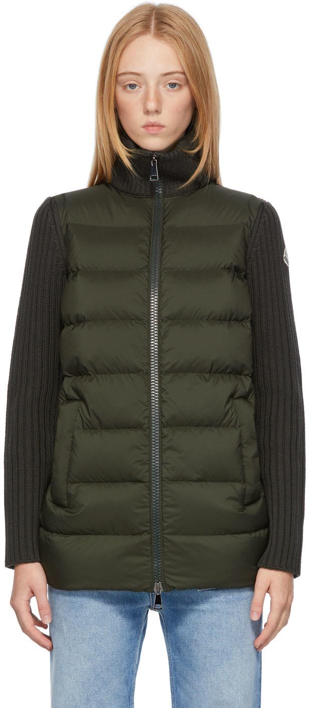 Moncler Green Down Knit Cardigan Jacket