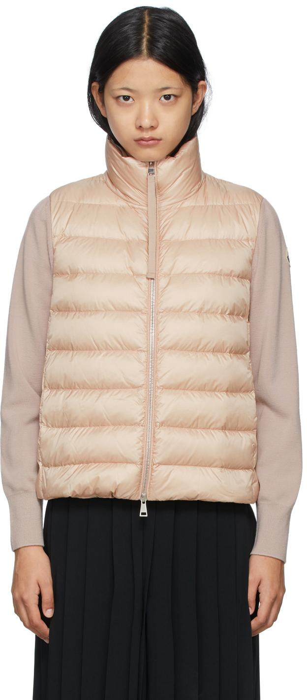 Moncler Pink Down Paneled Stand Collar Jacket