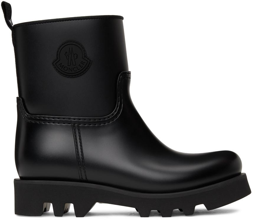 Black Ginette Matte Rubber Boots