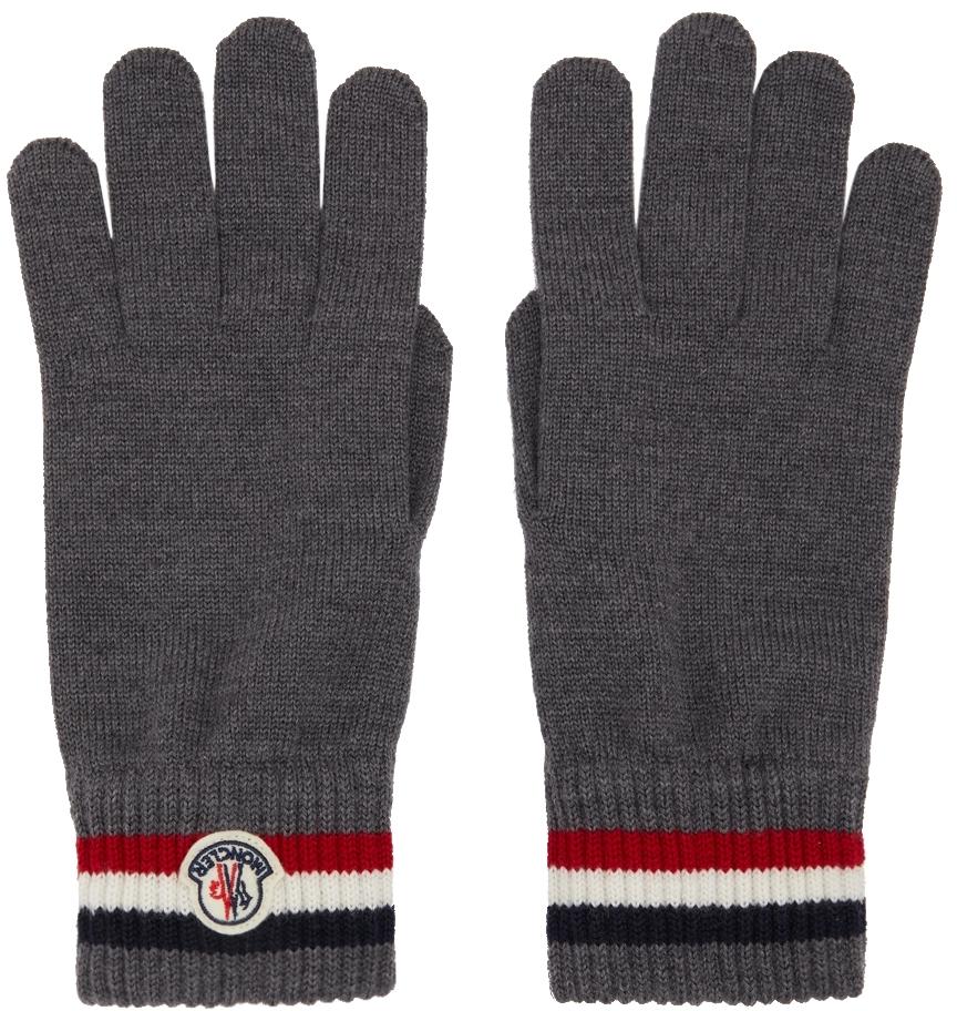 Grey Wool Stripe Gloves