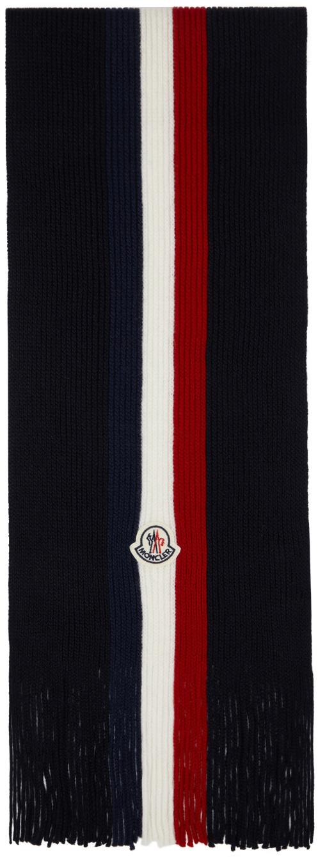 Navy Wool Stripes Scarf