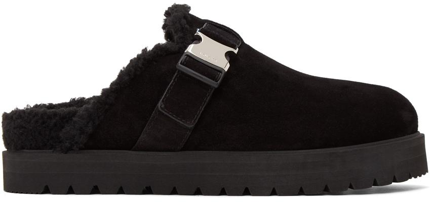 Black Suede Mon Mule Slides