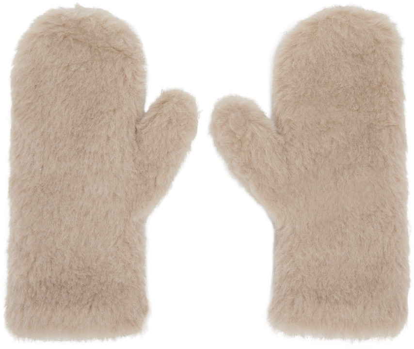 Beige Ombrato Teddy Mittens