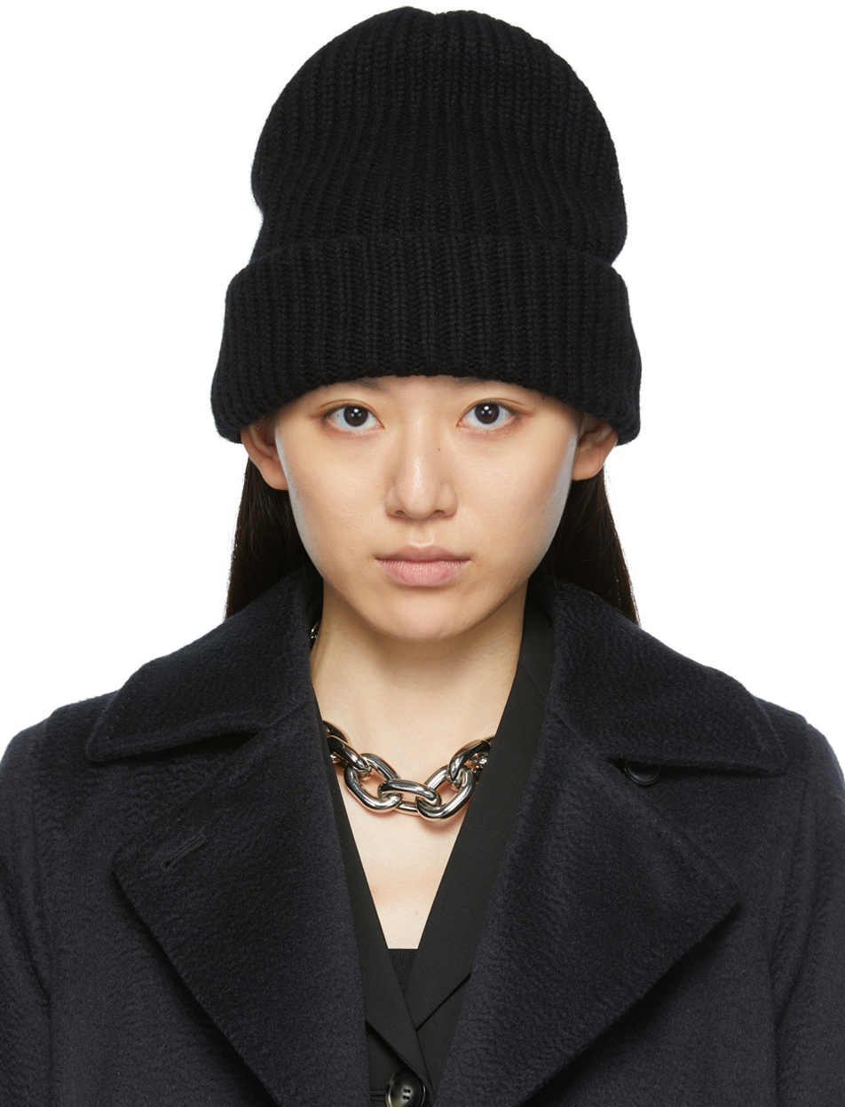 Black Knitted Cashmere Beanie