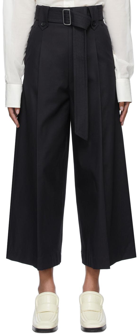 Navy Gabardine Grembo Trousers