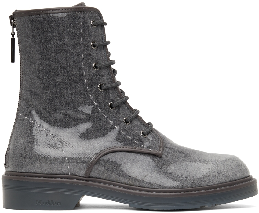 Grey Wool Beth Combat Boots