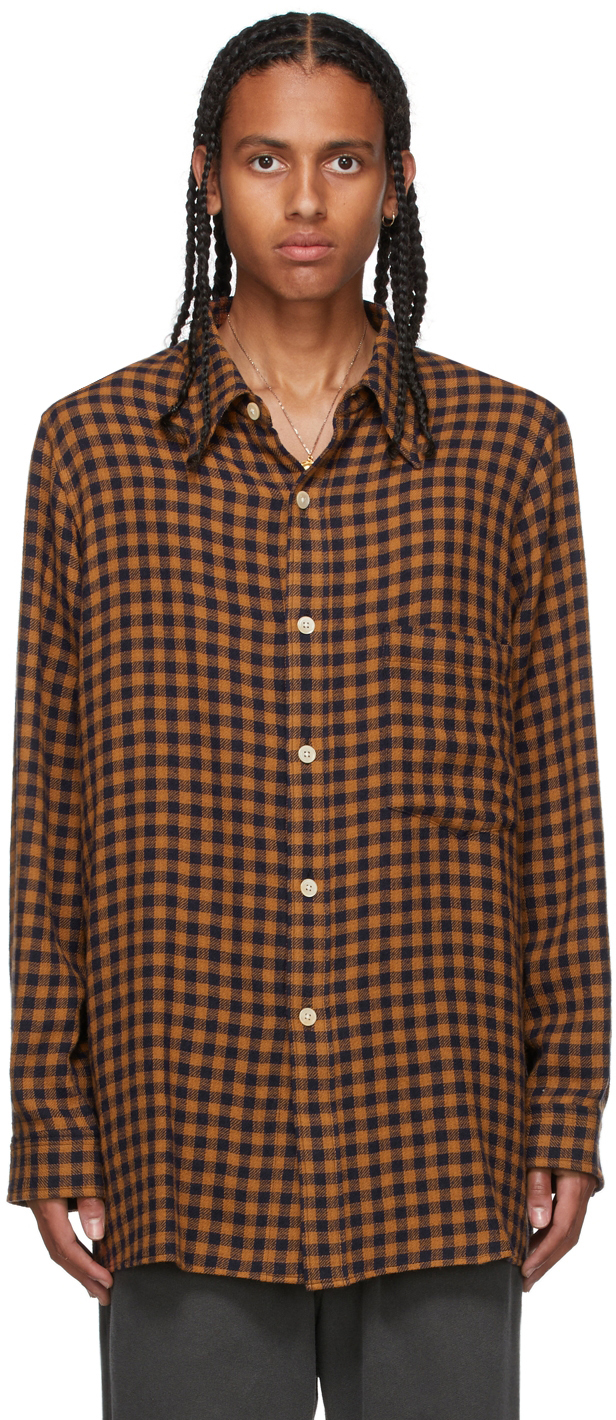 Brown & Navy Checked Shirt