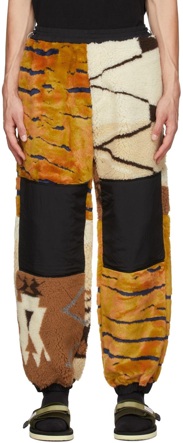 Orange & Off-White Fleece Abstract Lounge Pants