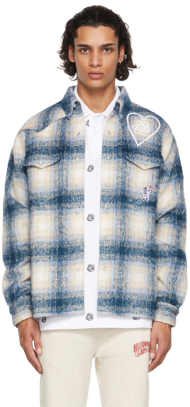 Blue & Beige Brushed Check Shirt